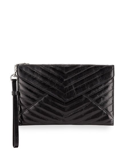 Rebecca Minkoff Pouches LEO QUILTED LEATHER ENVELOPE WRISTLET POUCH BAG