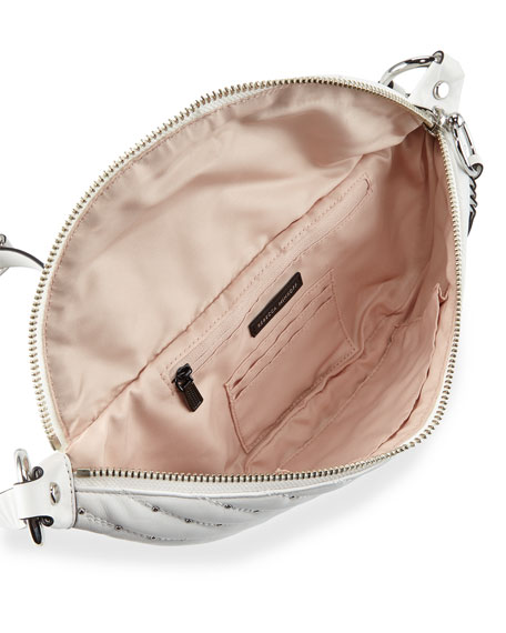 Edie Quilted Sling Belt Bag, White