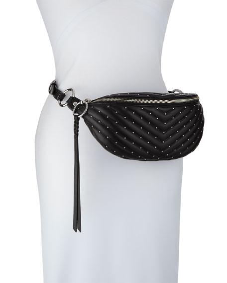 Edie Quilted Sling Belt Bag, Black