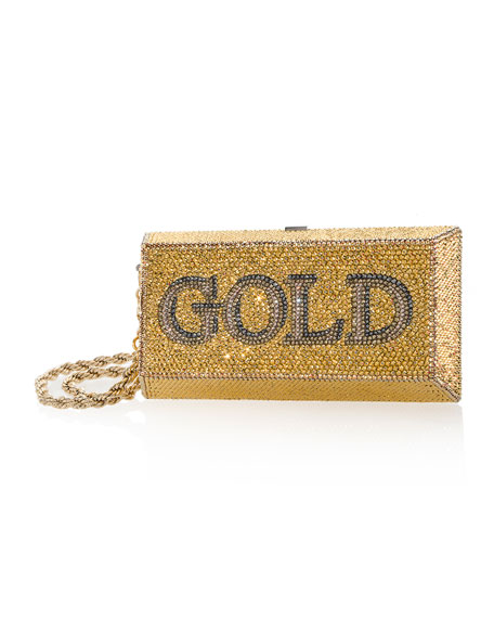Judith Leiber Couture Gold Brick Crystal Clutch Bag
