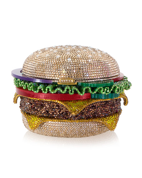 Judith Leiber Couture Hamburger Crystal Clutch Bag