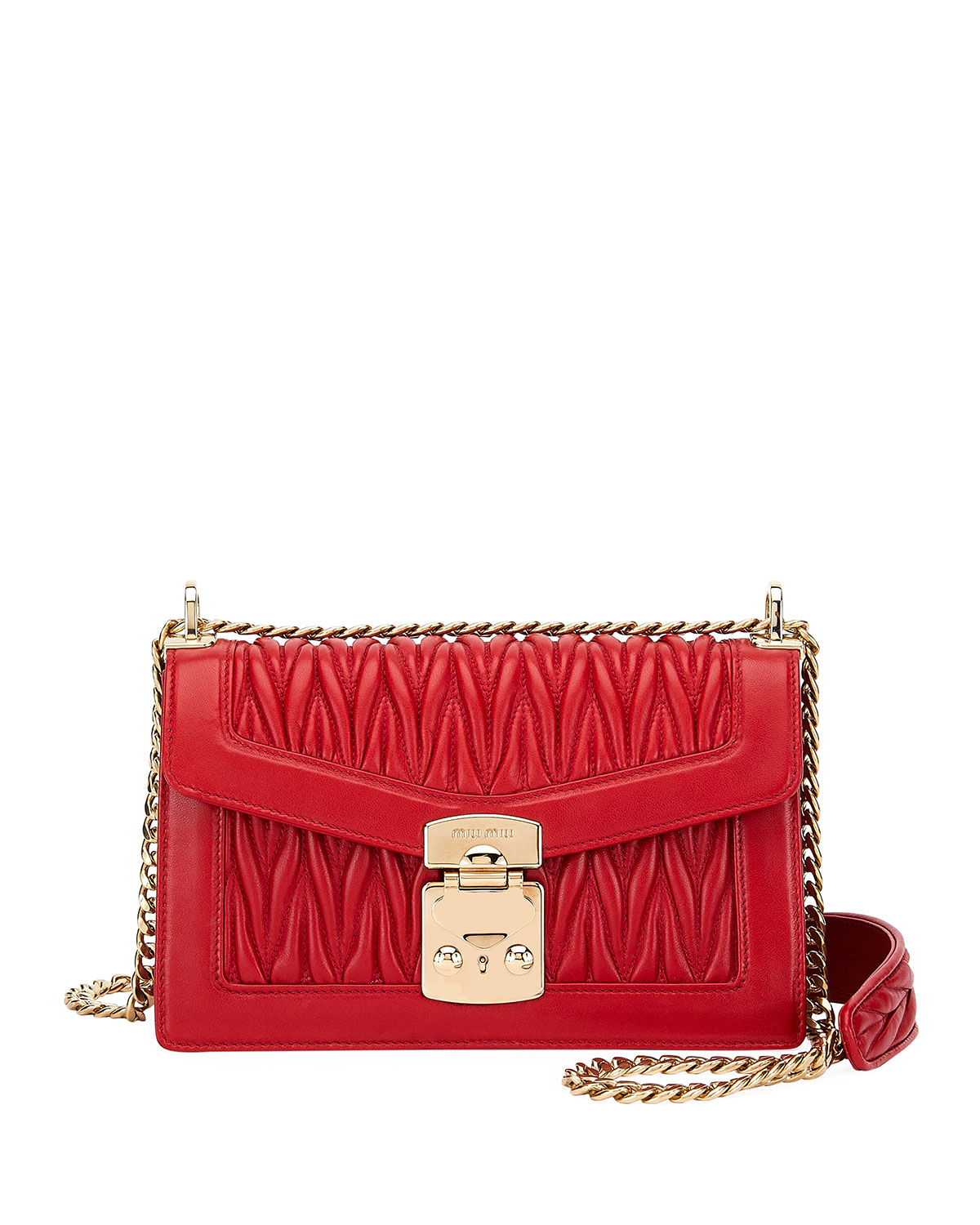 Miu Miu Miu Confidential Matelasse Leather Flap Shoulder Bag ... 4a6c80f49580e