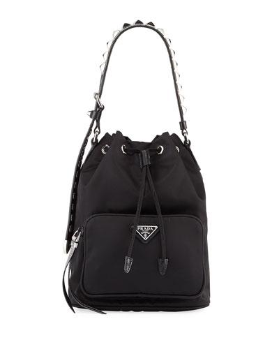 Prada Black Nylon Bucket Bag with Studding