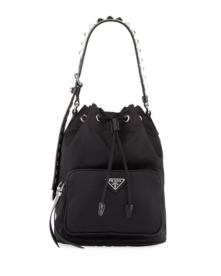 Prada Prada Black Nylon Bucket Bag with Studding