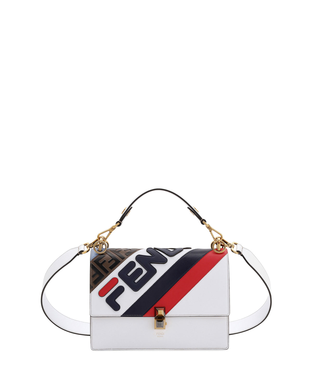 a9b8022470a0 Fendi Kan I Fendi Mania Striped Shoulder Bag
