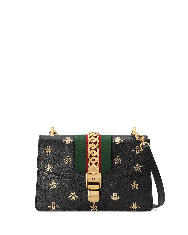 a07cc86a8 Gucci Sylvie Small Bee & Star Shoulder Bag | Neiman Marcus