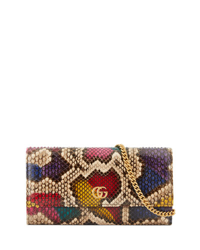 Petite Marmont Python Flap Wallet on a Chain