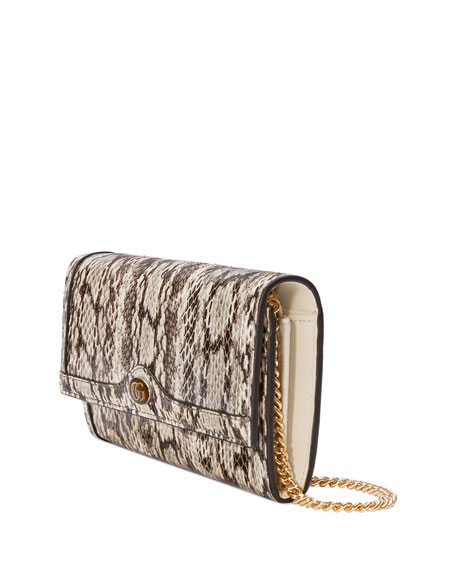 Gucci Ophidia Elaphe Snake Flap Wallet on Chain