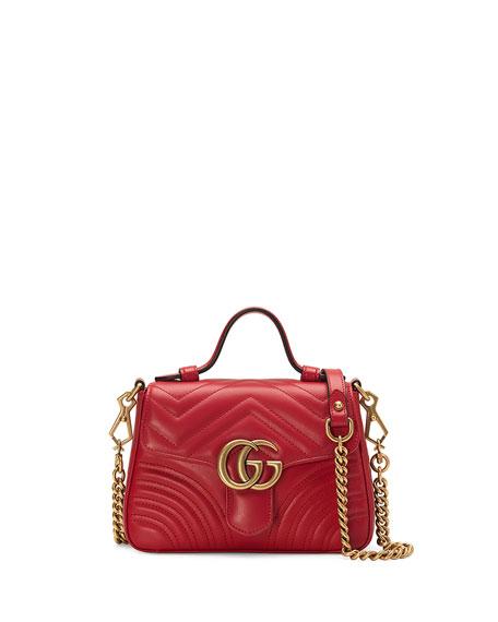 Gucci GG Marmont Mini Chevron Leather Satchel Bag