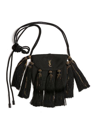 Vintage Passementerie Small Monogram YSL Shoulder Bag with Tassels - Golden Hardware