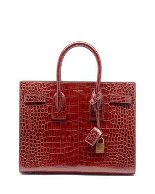 2cf5036638e Saint Laurent Sac de Jour Small Crocodile-Embossed Satchel Bag - Bronze  Hardware