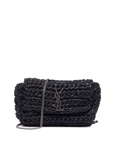 Kate Medium YSL Monogram Raffia Crossbody Bag