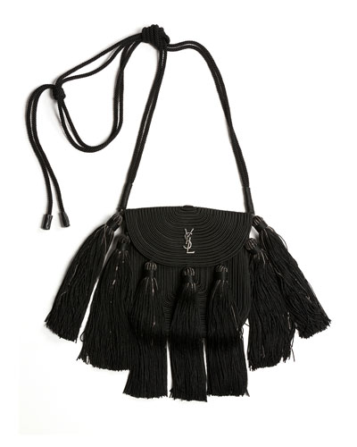 Vintage Passementerie Small Monogram YSL Shoulder Bag with Tassels - Silvertone Hardware