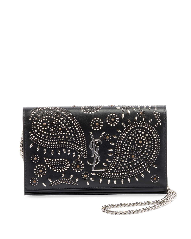 Bandana Stud Ysl Monogram Wallet On Chain by Saint Laurent