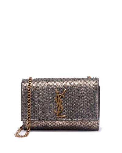 Kate Monogram YSL Small Python-Effect Crossbody Bag