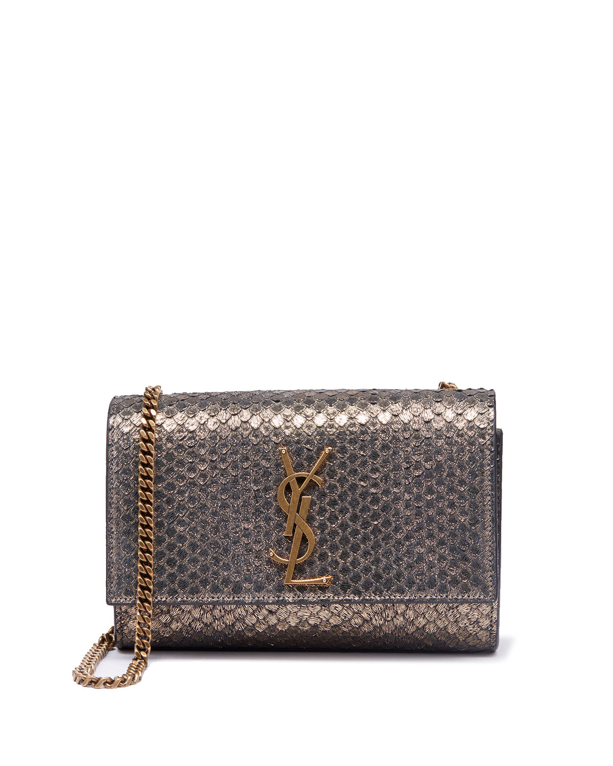 1d8355669e0 Saint Laurent Kate Monogram YSL Small Python-Effect Crossbody Bag ...
