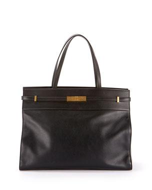 Saint Laurent Manhattan Medium Belted Leather Shoulder Tote Bag - Bronze  Hardware 20900b2d7dd24