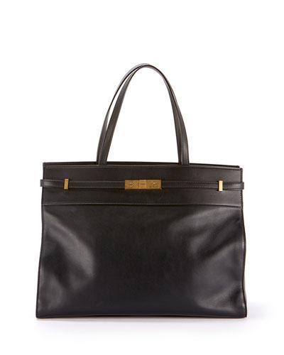Manhattan Medium Belted Leather Shoulder Tote Bag - Bronze Hardware