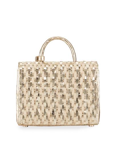Woven Metallic Top-Handle Bag