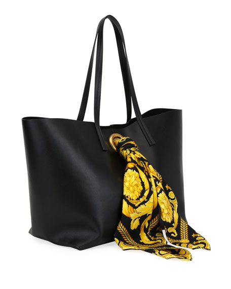 90edd6573b83 Image 2 of 5  Calf Leather Shoulder Tote Bag with Barocco Scarf