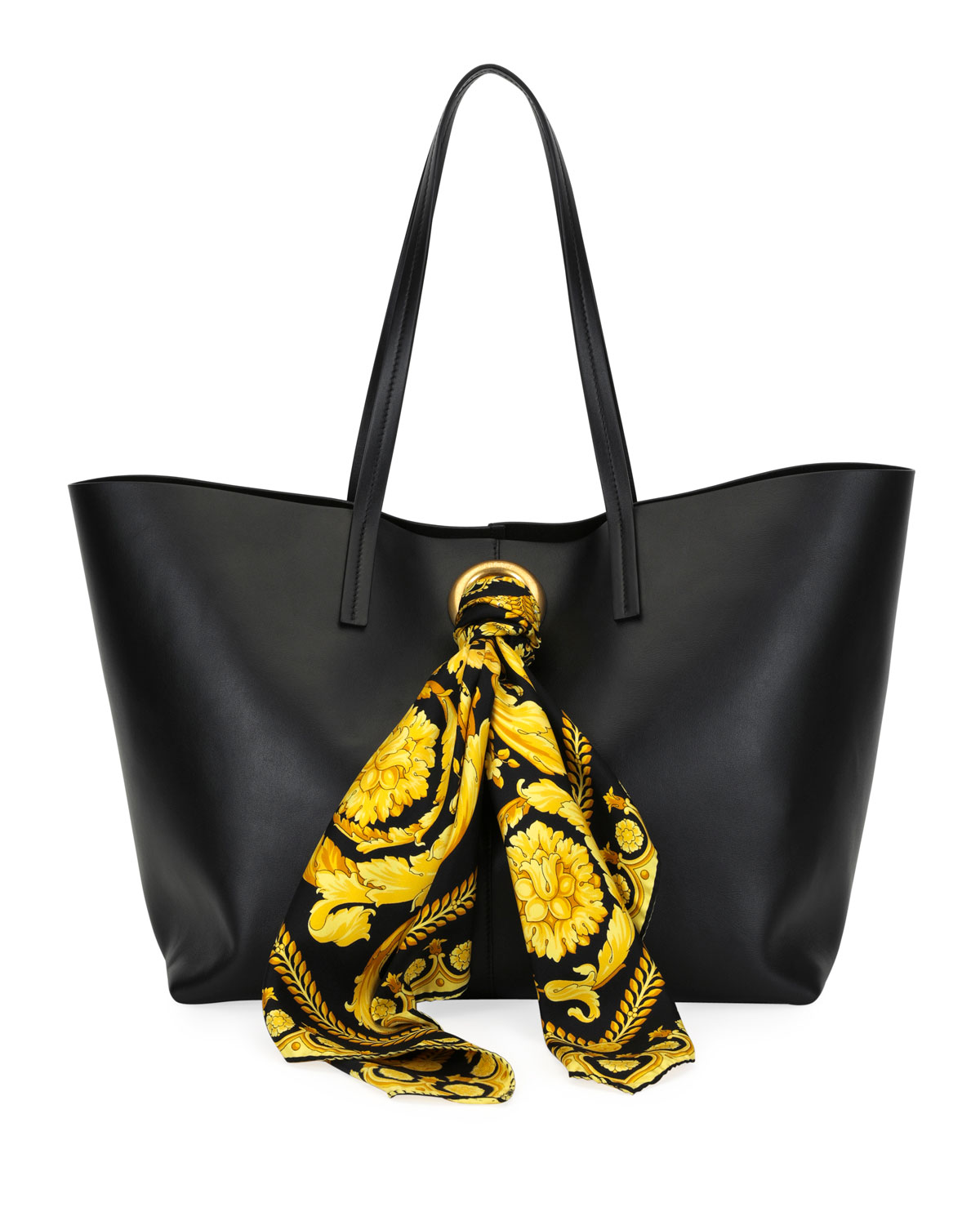 1d463bd70cd6 Versace Calf Leather Shoulder Tote Bag with Barocco Scarf