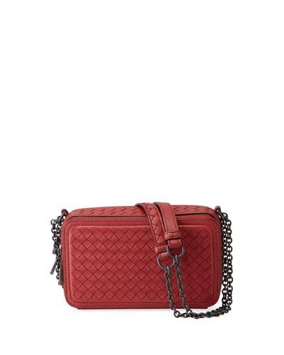 Intrecciato Leather Zip-Around Box Crossbody Bag