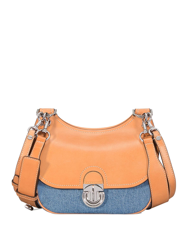f0801dc9051e9c Tory Burch James Small Denim Saddle Bag | Neiman Marcus