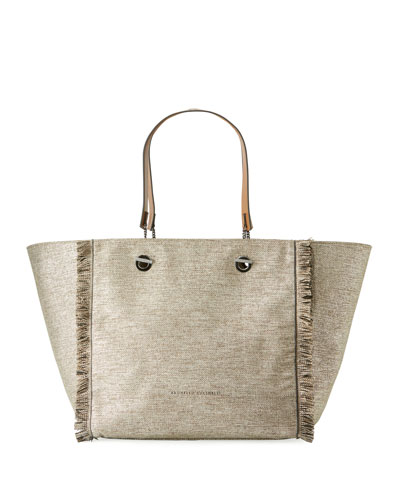 Canvas Fringed Tote Bag