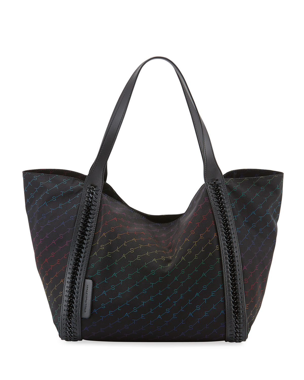 Stella McCartney Rainbow Logo XL Nylon Tote Bag  89d7e328fc832