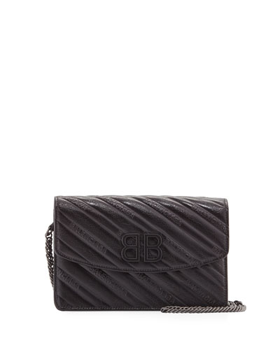 BB Logo-Embossed Leather Wallet On Chain