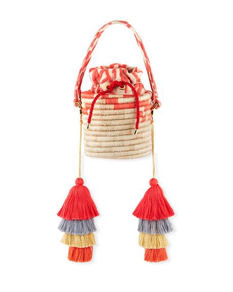 Maison Alma Woven Straw Bucket Bag