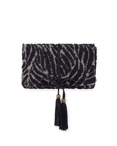 Barbara Tassel Fabric Clutch Bag  Navy