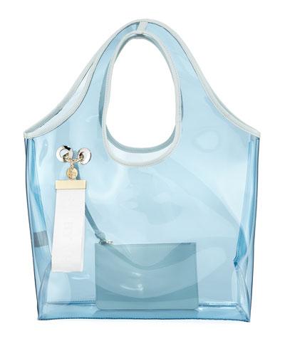 Jay Transparent Tote Bag  Light Blue