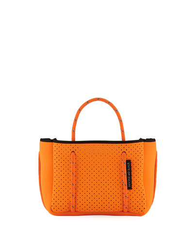 Perforated Neoprene Small Crossbody Bag  Bright Orange