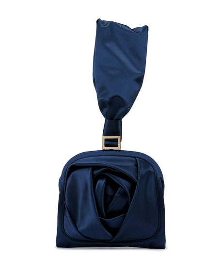 Roger Vivier Rose Bracelet Clutch Bag, Navy