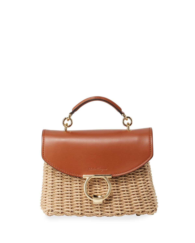 d5a6711625 Salvatore Ferragamo Margot Small Woven Satchel Bag