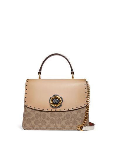 Parker Tea Rose Canvas Top-Handle Bag with Rivets