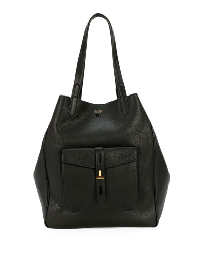 Grain Leather East-West Tote Bag