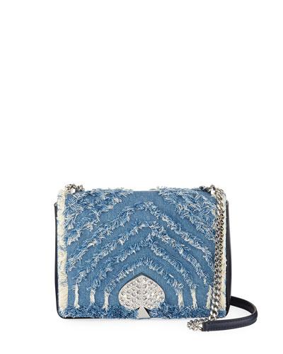 amelia medium jeweled denim shoulder bag