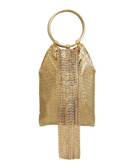 Whiting & Davis Crystal Cascade Fringe Clutch Bag
