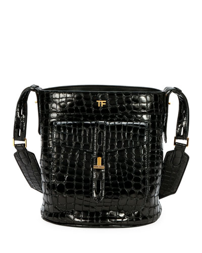 Embossed Leather Bucket Bag