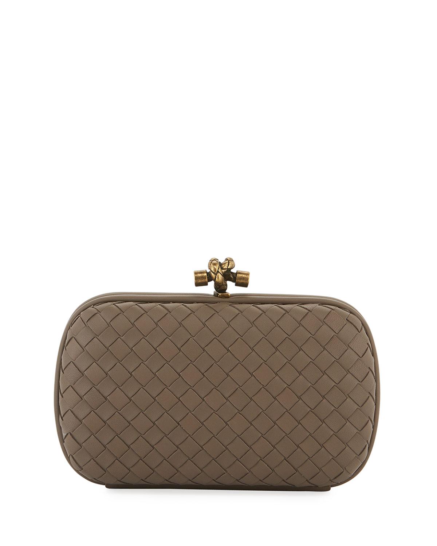 76fe84224477ec Bottega Veneta Leather Woven Knot Box Clutch Bag | Neiman Marcus