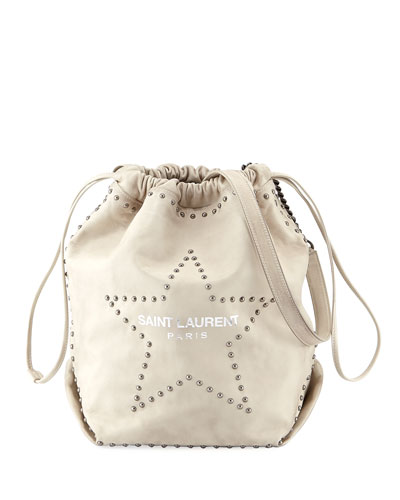 Teddy Large Star-Stud Drawstring Bucket Bag