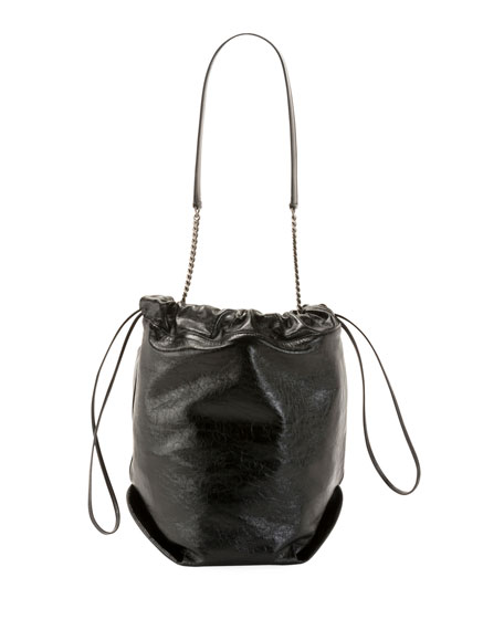 Saint Laurent Teddy Large Crinkle Leather Drawstring Bucket Bag