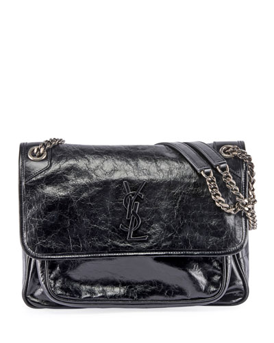 Niki Medium Monogram YSL Shiny Leather Shoulder Bag