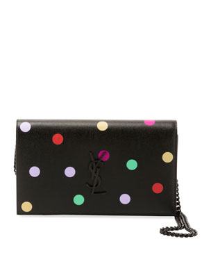 7b7708287273c Saint Laurent Kate Small Monogram YSL Polka-Dot Wallet on Chain