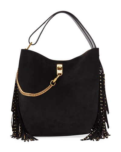 GV Fringed Suede & Leather Bucket Bag