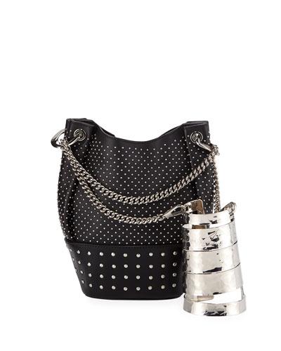 Polygon Bracelet & Studded Bucket Bag