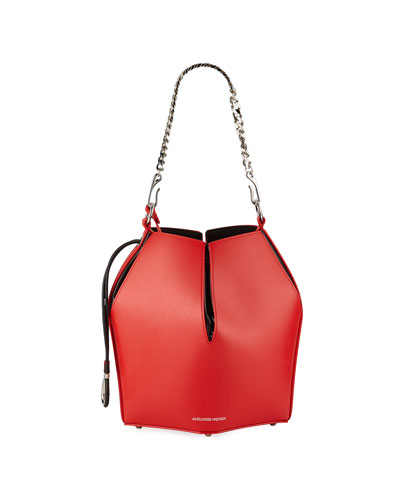 The Bucket Shiny Calf Shoulder Bag - Silvertone Hardware