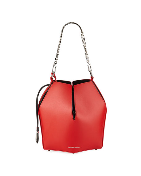 Alexander McQueen The Bucket Shiny Calf Shoulder Bag